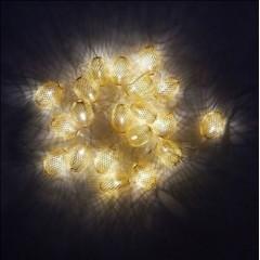 Новогодняя гирлянда Овал большой сетка Золото LED 20