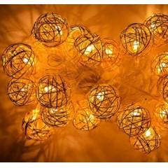 Новогодняя гирлянда Шарик проволока Золото LED 20