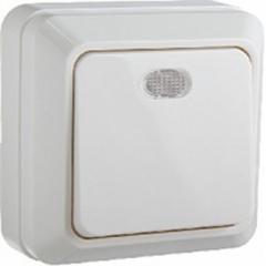 Выключатель одноклавишный с подсветкой, 10А/250В