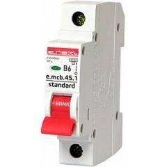 Модульный автоматический выключатель e.mcb.stand.45.1.B6, 1р, 6А, В, 4.5 кА